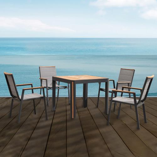 Indosoul 4 Seater Madrid Aluminium & Teak Outdoor Dining Set