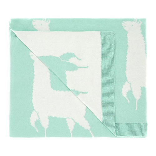 Hiccups by Linen House Mint Llama Cotton Throw