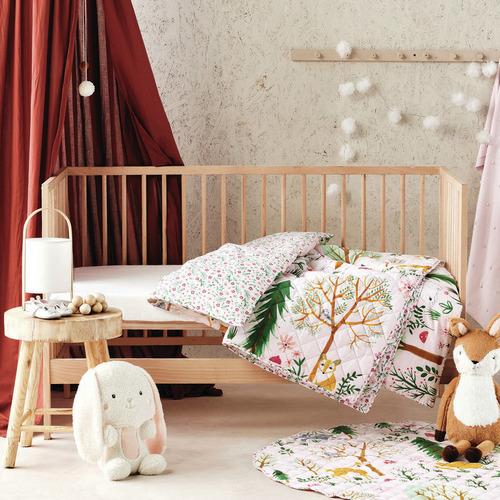 Multi-Coloured Woodlandia Cotton Cot Coverlet