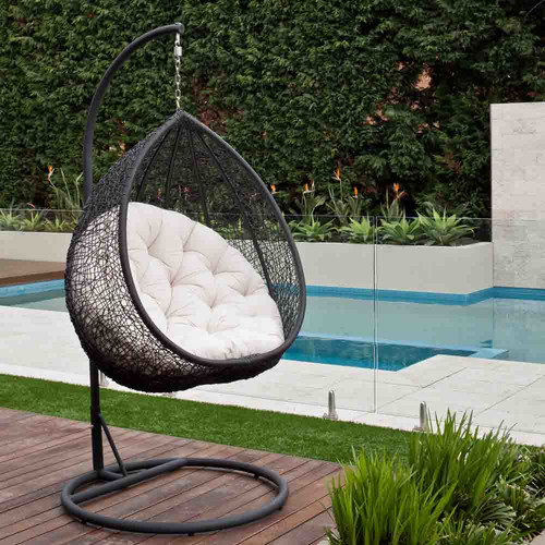 Milan Direct PE Rattan Hanging Egg Pod Chair Reviews Temple Web