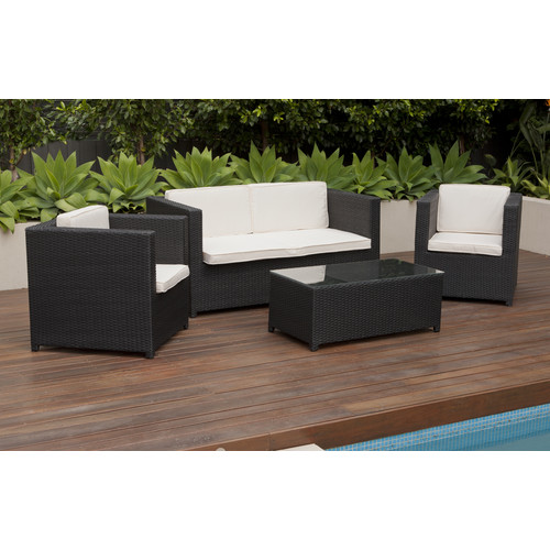 Temple U0026amp; Webster 4 Piece Sorrento PE Outdoor Wicker Lounge Set