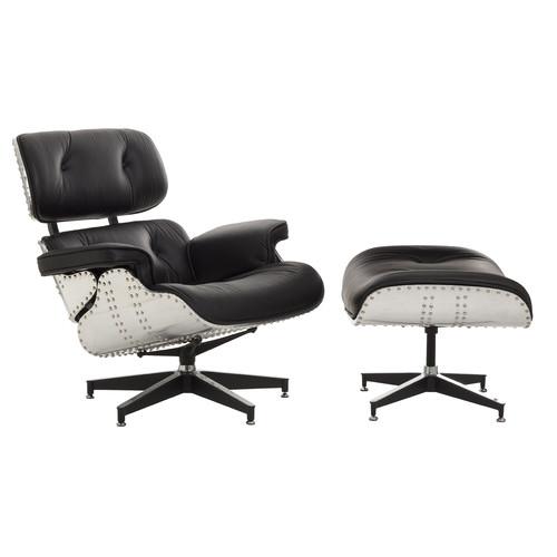 Milan Direct Eames Replica Aluminium Lounge Chair & Ottoman