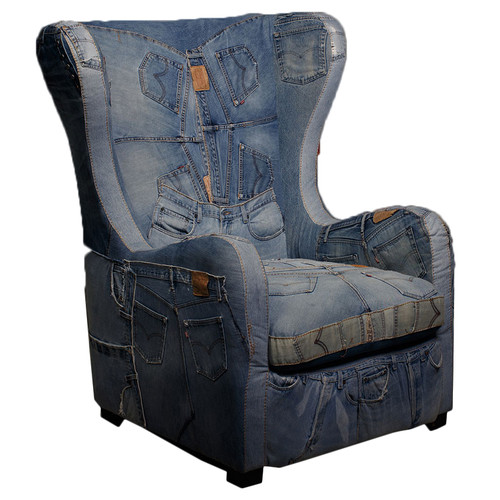 Milan Direct Denim Wingback Armchair