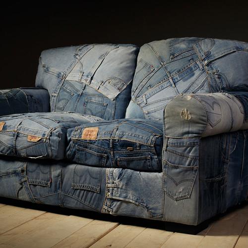 Milan Direct Denim 2 Seater Sofa
