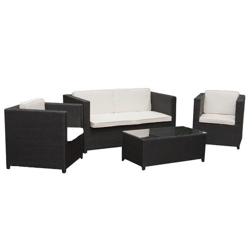 Temple & Webster 4 Piece Sorrento PE Outdoor Wicker Lounge Set