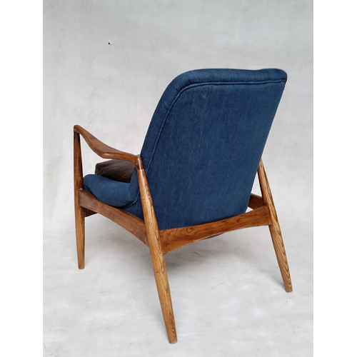 Milan Direct Brown Leather & Denim Demi Armchair