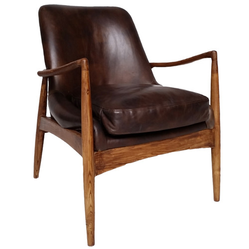 Temple & Webster Brown Leather Demi Armchair