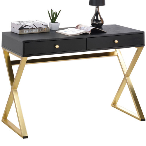 Milan Direct Black & Gold Marilyn Office Desk