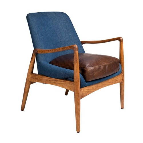 Temple & Webster Brown Leather & Denim Demi Armchair