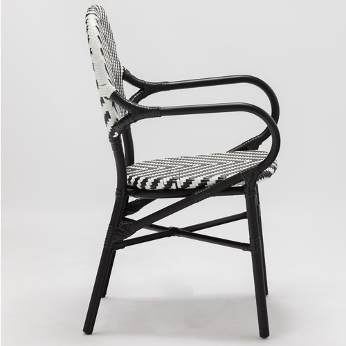 Temple & Webster Black Paris PE Rattan Cafe Arm Chair