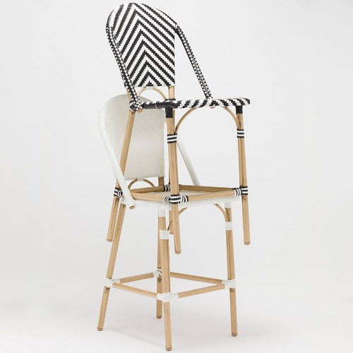 Temple & Webster Paris Wicker Cafe High Back Bar Stool - Black & White
