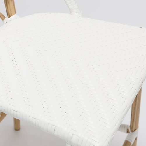 Temple & Webster Paris Wicker Cafe High Back Bar Stool - White