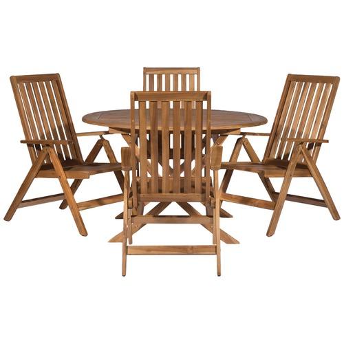 Temple & Webster Eivissa Acacia 5 Piece Outdoor Folding Dining Set