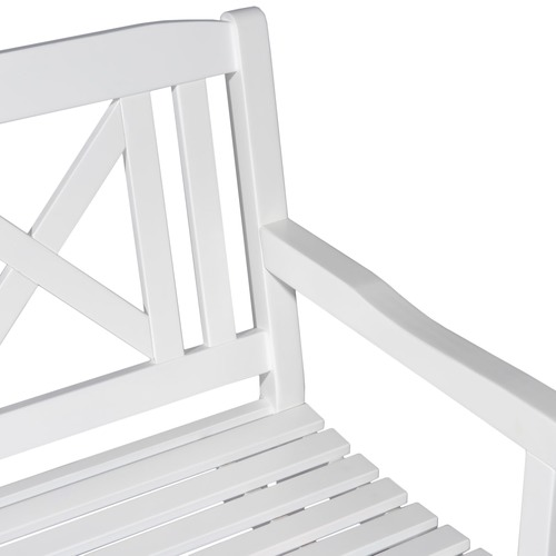 Temple & Webster Santa Cruz White 3 Seater Outdoor Timber Bench