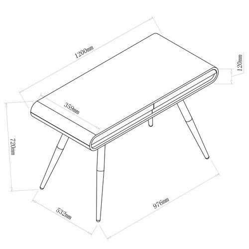 Milan Direct Renee 2 Drawer Desk
