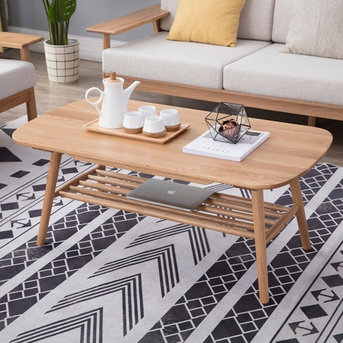 Temple & Webster Oscar Oak Coffee Table with Shelf