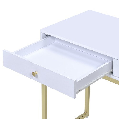 Milan Direct White & Gold Grace Desk