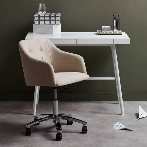 Milan Direct Keely Cream & Chrome Contemporary Home Office Chair