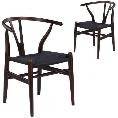 Milan Direct Walnut U0026amp; Black Hans Wegner Replica Wishbone Chair