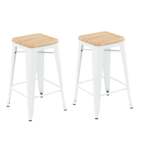 Milan Direct Tolix Replica 65cm Bar Stools with Timber Seat