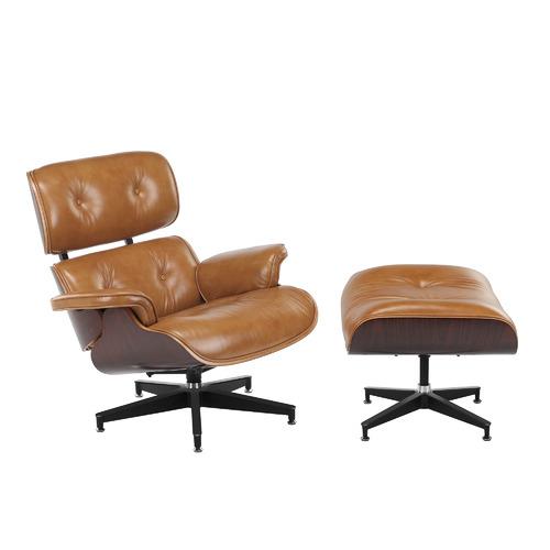 Eames Premium Leather Replica Lounge Chair & Ottoman