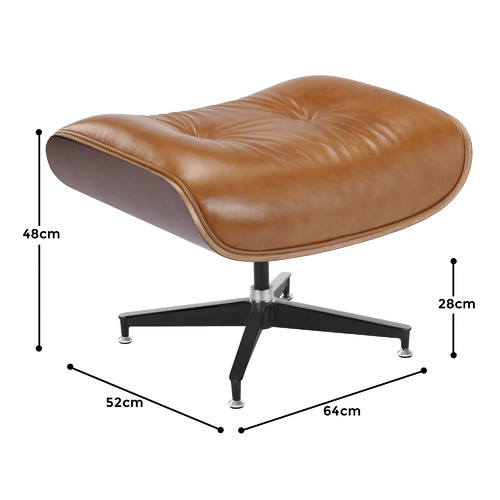 Milan Direct Eames Premium Leather Replica Lounge Chair & Ottoman