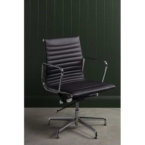 Milan Direct Eames Replica Fixed Base Leather Office Chair