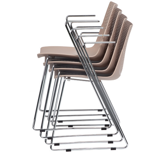 Milan Direct Taupe Laser Stackable Visitor Chairs