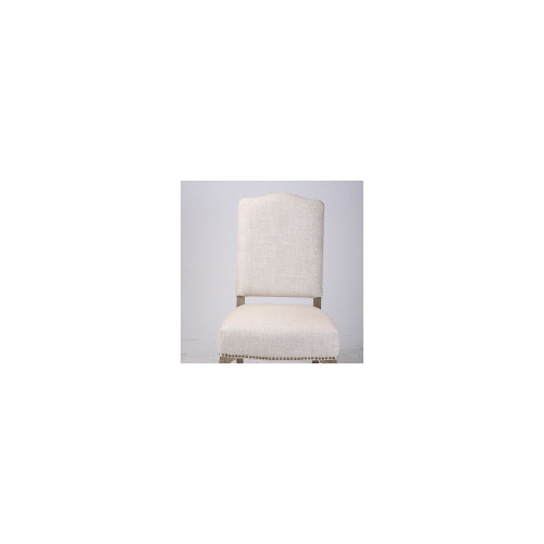 Naturally Provinicial French Country Linen Dining Chair With Stud Feature