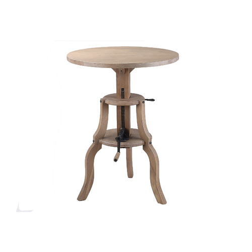 Naturally Provinicial Round Height Adjustable Industrial Bar Table