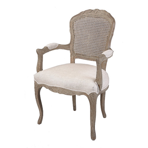 Naturally Provinicial French Country Linen Dining Armchair With Rattan Back