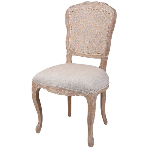 French Country Linen Dining Chair With Rattan Back