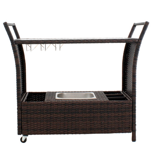 Naturally Provinicial Cairns PE Wicker Bar Cart