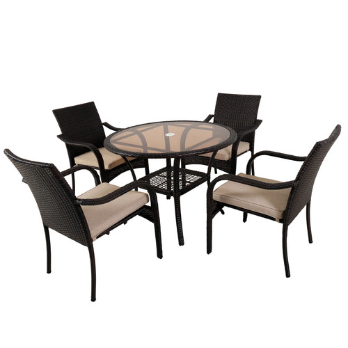 Naturally Provinicial Freshwater 4 Seater Outdoor PE Wicker Dining Set