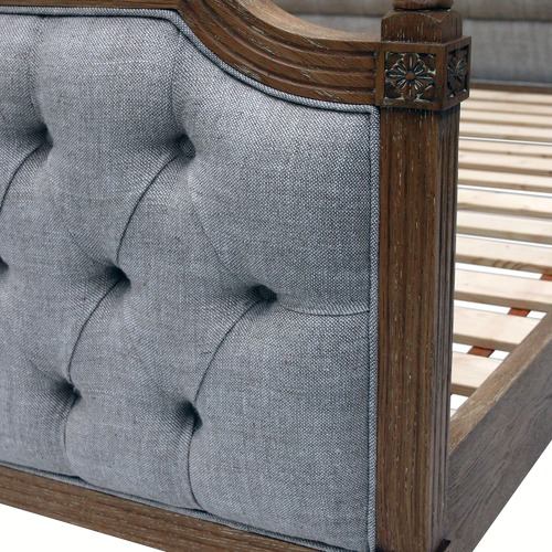 Naturally Provinicial Judah Button Tufted Linen Bed Frame