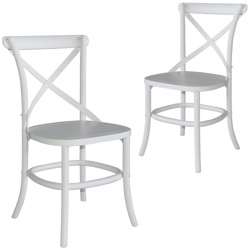 Naturally Provinicial White Zola Cross Back Oak Wood Dining Chairs