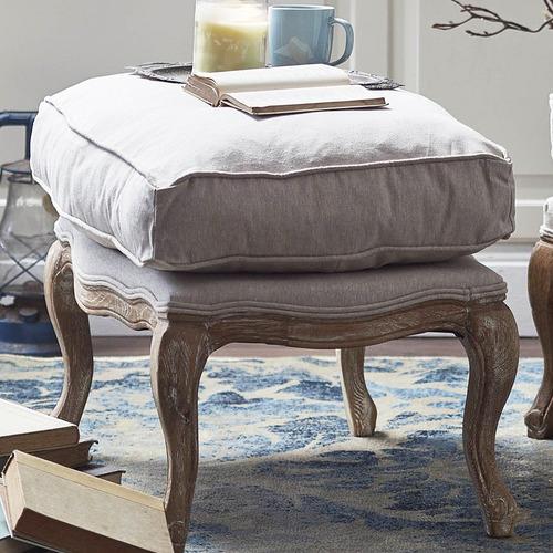 Naturally Provinicial Linen Cushion Ottoman