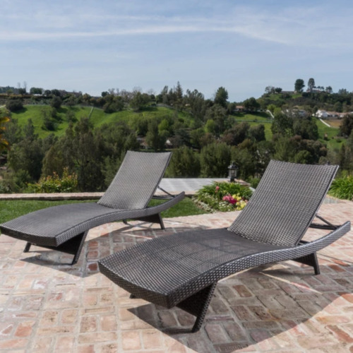 Naturally Provinicial Grey Hilda PE Wicker Sun Lounges with Arm Rest