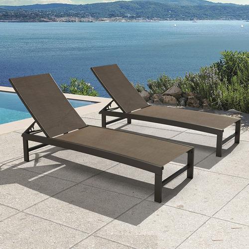 Casella Aluminium & Textilene Adjustable Sun Lounges