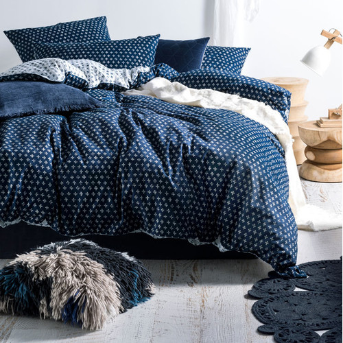 Linen House Indigo Oki Cotton Quilt Cover Set Amp Reviews