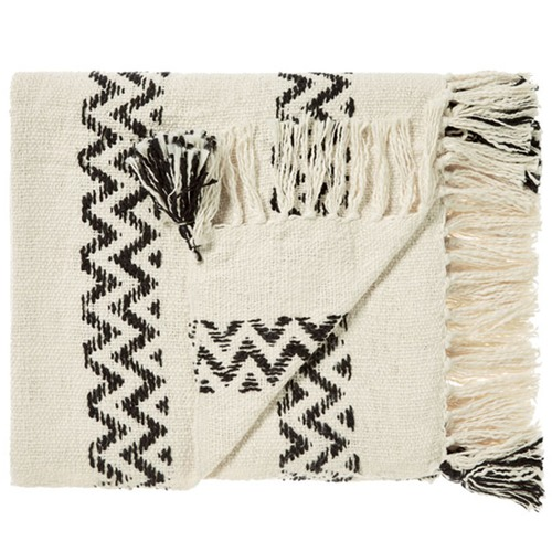 Linen House Monochrome Tassel Trim Throw