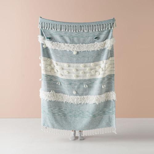 Linen House Blue Merricks Cotton Throw