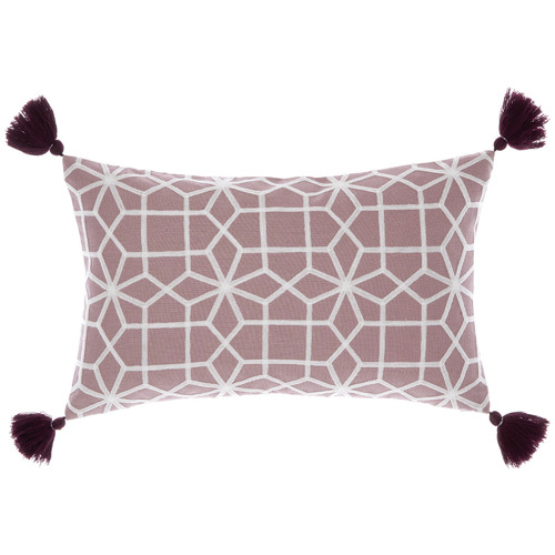 Linen House Wine Tasselled Mariana Cotton Cushion
