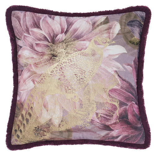 Linen House Wine Floral Neve Cotton Cushion