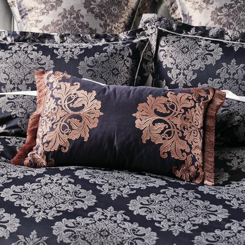 Linen House Navy Yvette Cotton Cushion