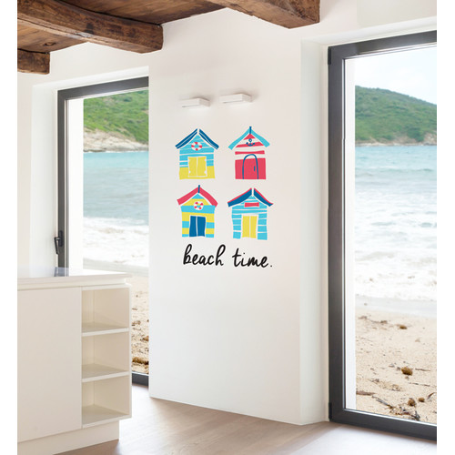 brighton beach huts wall decal | temple & webster