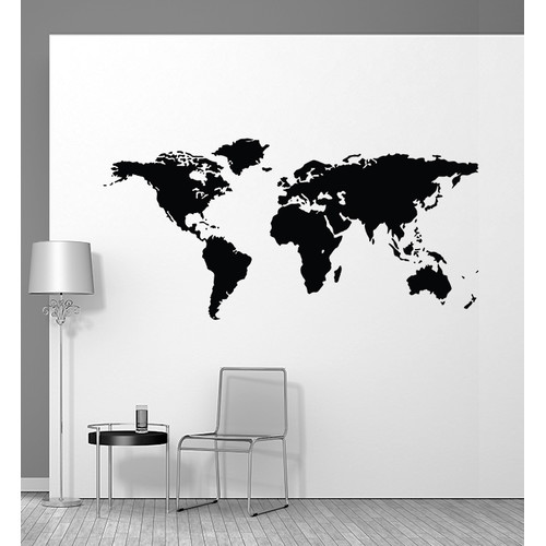 Little Sticker Boy World Map Large Wall Decal