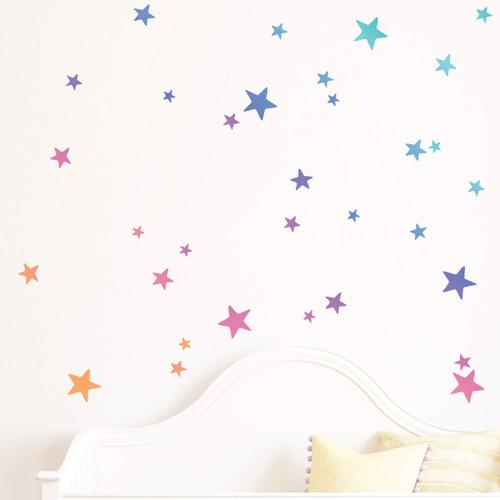Little Sticker Boy Rainbow Gradient Stars Wall Decal