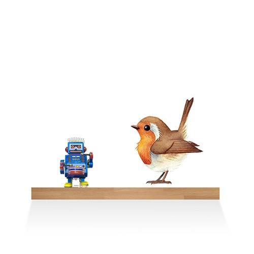 european robin bird wall sticker | temple & webster