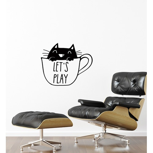 Little Sticker Boy Lets Play Cat Mug Wall Sticker